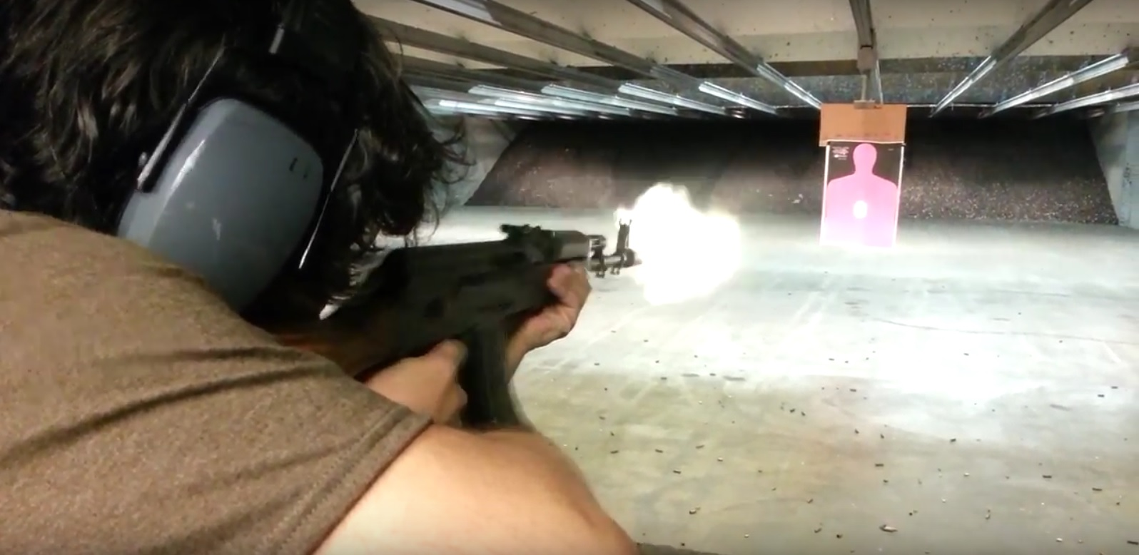 ak-47 shot at indoor shooting range